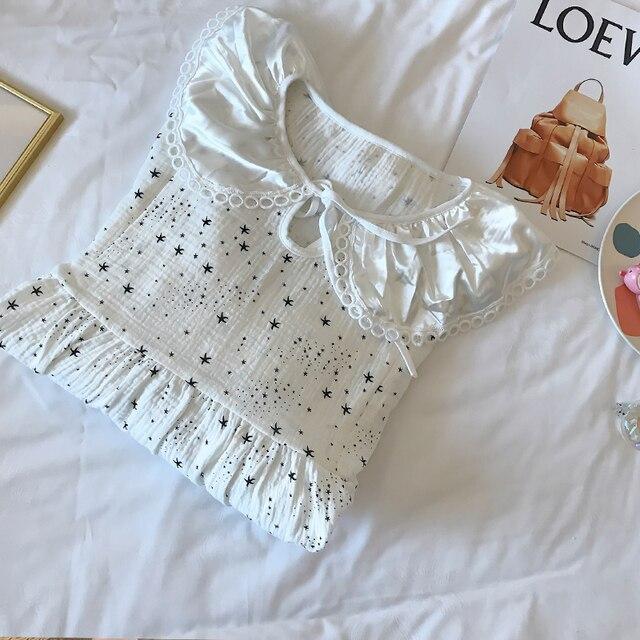 Star Print Thin Cotton Maternity Night Dress 5