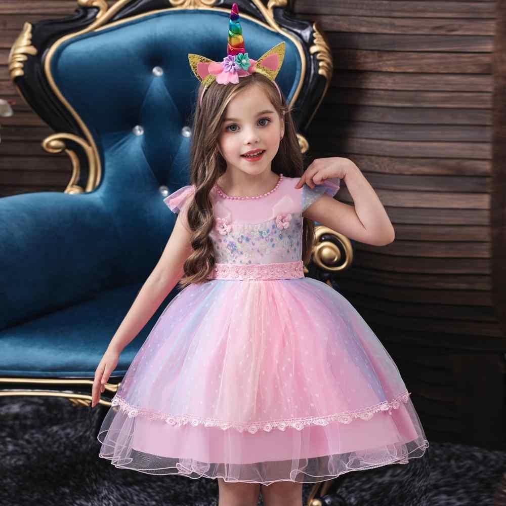 ילדה Unicorn נסיכת שמלות ליל כל הקדושים ילדים פעוט בנות חג המולד טוטו מסיבת יום הולדת שמלת יילוד Baptismal שמלות בגדים 5