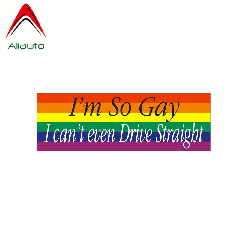 Aliauto Funny Car Sticker I'm So Gay I Can't Even Drive Straight PVC Decal Cover Scratches for Motorcycles Toyota Kia,14cm*5cm
