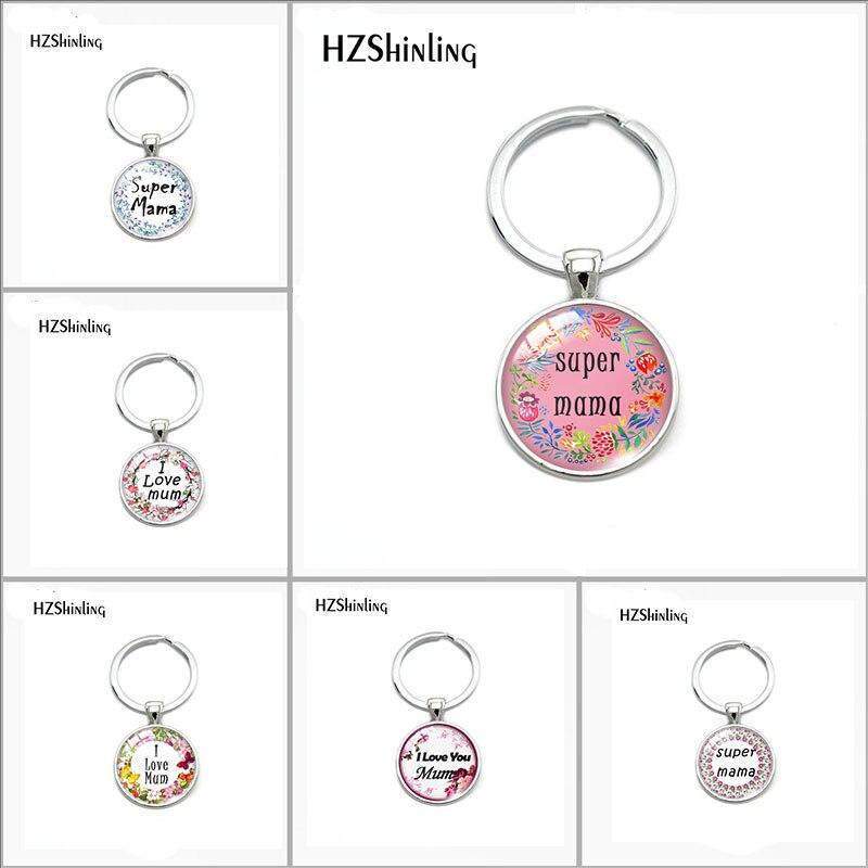 2018 Fashion Super Mama Keychain Glass Round Key Chain I Love Mum Queto Pendant Bag Accessories Fashion Silver Jewelry