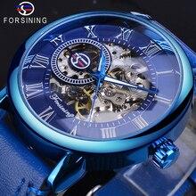Forsining Mens Full Blue Mechanical Watches Hand Winding Analog Genuine Leather Belt Business Dress Wristwatch Relogio Masculino