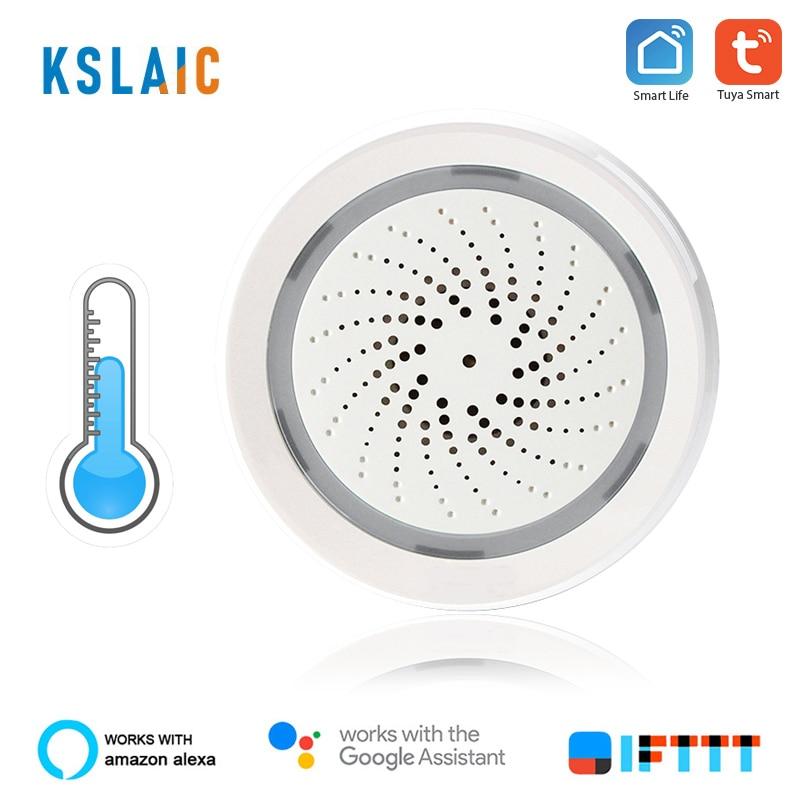 KSLAIC 3 In 1 Smart Wireless WiFi Siren Alarm With Temperature And Humidity Sensor Compatible Alexa IFTTT Tuya Smart Life Sensor