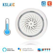 KSLAIC-alarma de sirena 3 en 1 inteligente, inalámbrica, WiFi, con Sensor de temperatura y humedad, Compatible con Alexa, IFTTT, Tuya, Smart Life