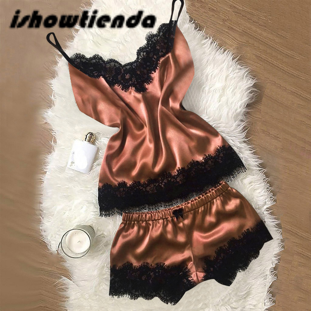 2Pcs Women Sexy Satin Lingerie Underwear Babydoll Nightwear Sleepwear Strap Solid Color Lace Set