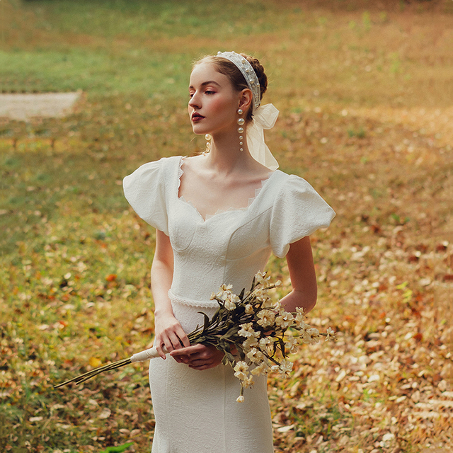 Elegant Sweetheart Collar Short Puff Sleeve Mermaid Bride Dress Simple Backless Slim Bandage Little Trailing Wedding Party Gown 6