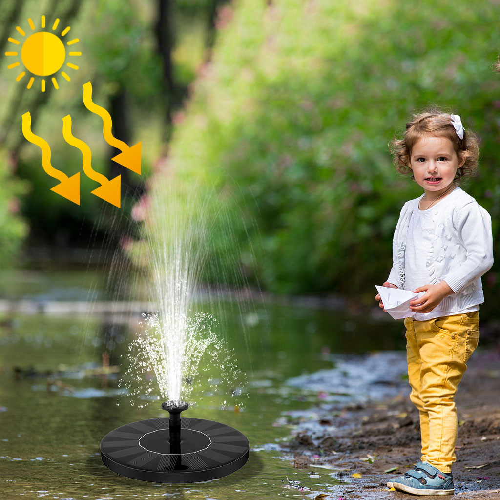 Solar Pump, 1.4W Free Standing Floating Solar Bird Bath Water Pumps For Garden