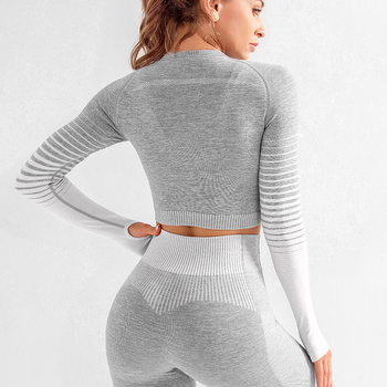 Women Gym Clothing Sports Wear Seamless Ombre Long Sleeve Yoga Set Legging Set High Waisted Fitnesss Suit Tight Work Out Suit 2
