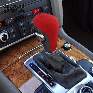 Estilo de coche para Audi A4 B7 A5 A6 C6 Q5 Q7 4l cuero de gamuza Interior engranaje cubiertas Protector decoración de embellecedor Auto pegatinas