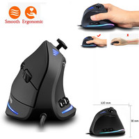 Zelotes C-18 Vertical Cable Game LED Programmable Remote Ergonomics Mouse wired Saving Office Mause for Laptop