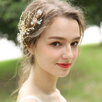 J6158 Or Bride Handmade Headdress Wedding Origional Design Barrettes Hollow out Leaves Side Clip Marriage Accessories New