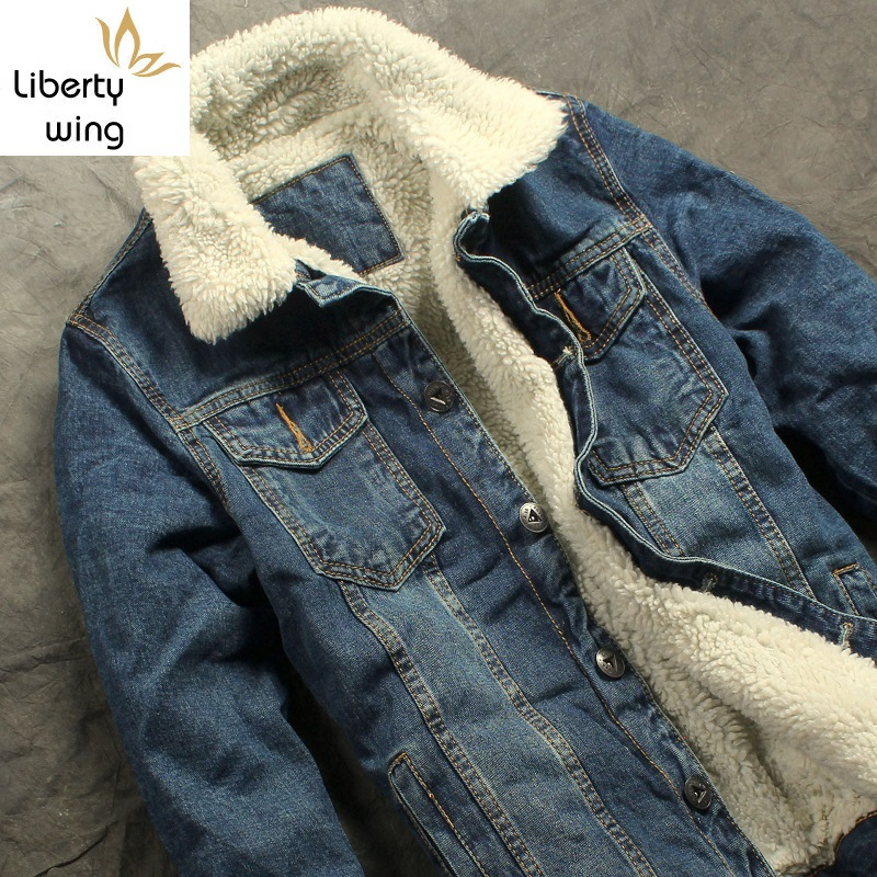 Autumn Winter Mens Fur Lining Fleece Fashion Slim Fit Motorcyle Jean Jacket Denim Coat Brand New Free Shipping