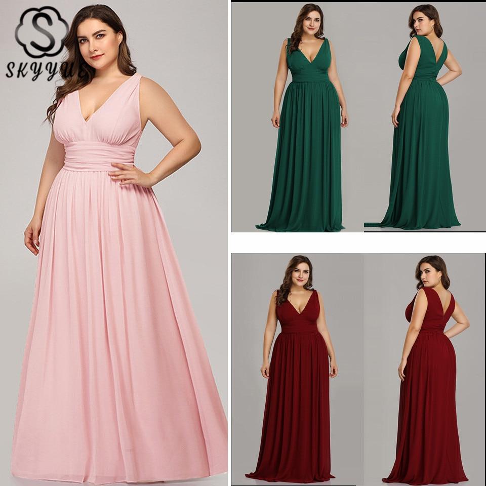 Skyyue Bridesmaid Dresses Sleeveless V-Neck Elegant Tank Vestido Largo Sirena Solid Floor-Length Robe Demoiselle D Honneur C434