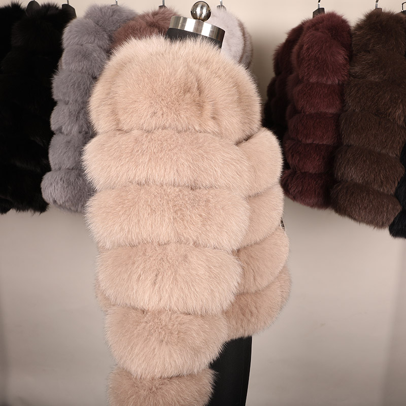 maomaokong 50CM Natural Real Fox Fur CoatWomen Winter natural fur Vest Jacket Fashion silm Outwear Real Fox Fur Vest Coat Fox 21