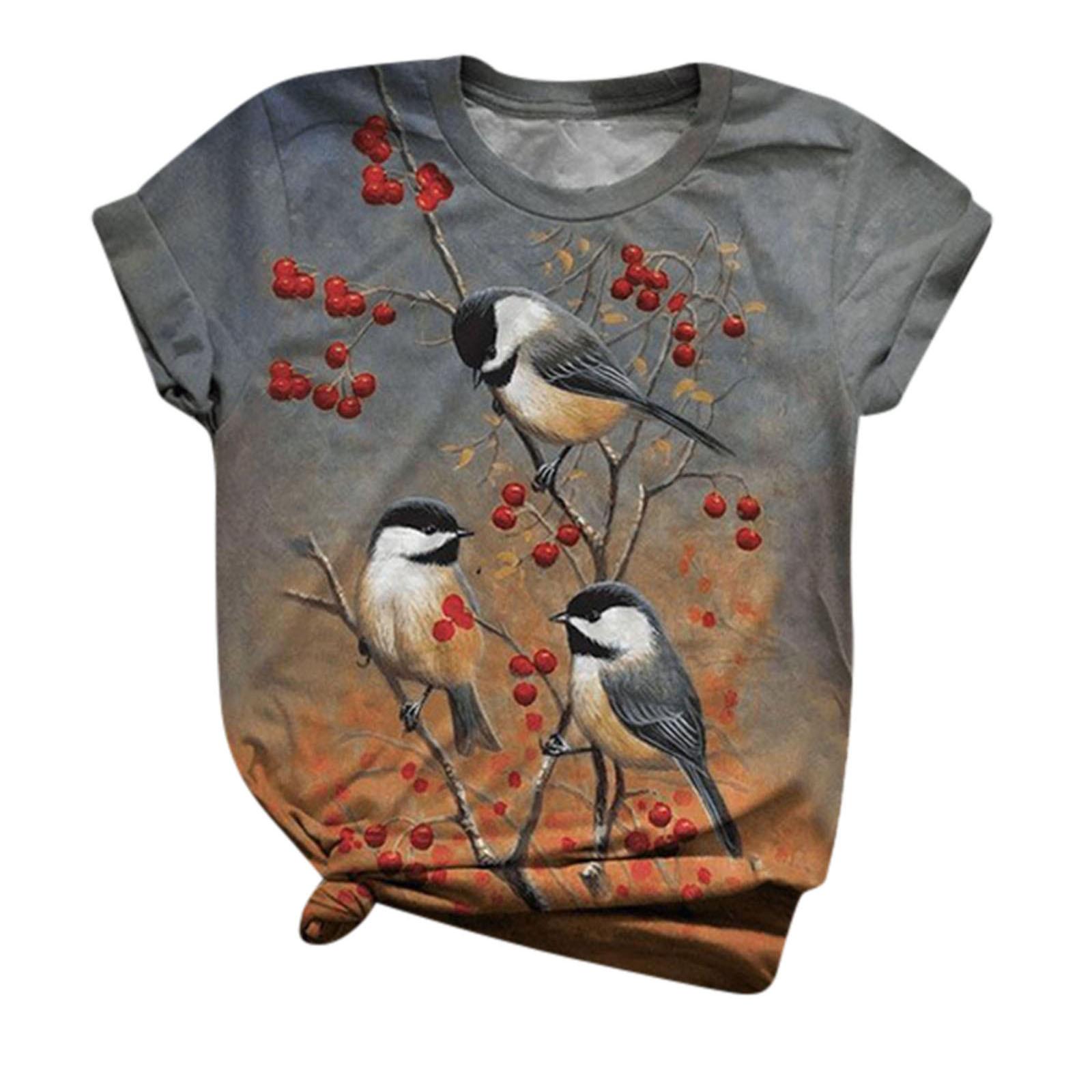 Womens Fun Animal Graphic Tees Plus Size 5XL Casual Short Sleeve Summer Cute Birds Printed T Shirt Tops женская футболка 5 xl A2