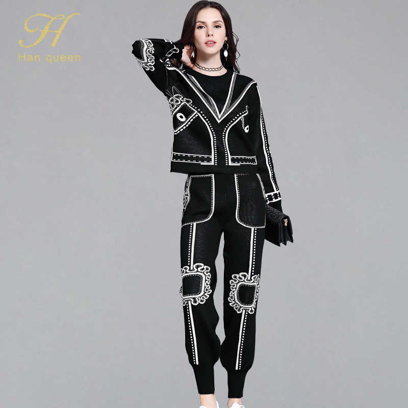 H Han Queen Vintage Stretch Knitting Women Pant Suit O-neck Pullover Crop Top & High Waist Pant Autumn Winter Office Wear Suits
