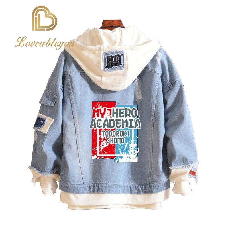 Anime My Hero Academia Shoto Todoroki Cosplay Costumes Attack On Titan Fate Blue Denim Jacket Hoodie For Girls Boys Spring Coat