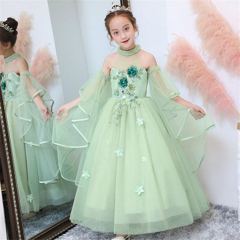 3~14Ys Girls Children Fashion Appliques Flowers Birthday Evening Party Princess Dress Korean Sweet Kids Host Ceremony Host Dress
