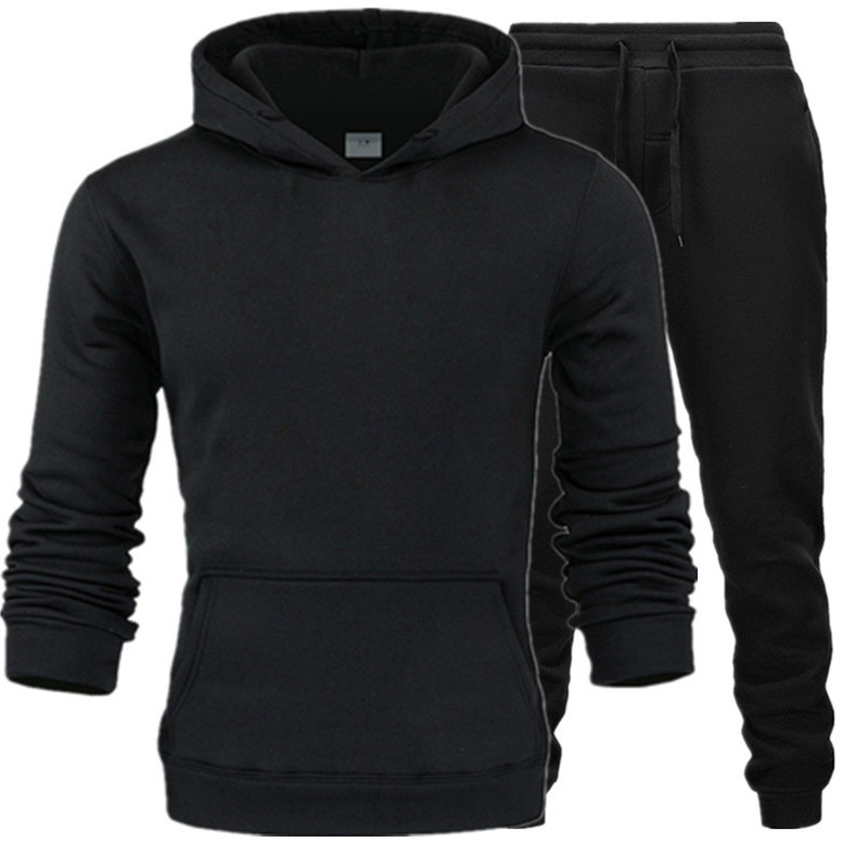 New Winter Autumn Men Hoodie Sweatshirt Jacket+ Joggers Sweatpants Man Printing Suits Sportwear Tracksuit Color Brand Clothing