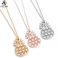 Oly2u Summer Pineapple Pendant Necklace for Women Minimalist Jewelry Hollow Hawaii Stainless Steel Necklaces Friendship Gift Bff(China)