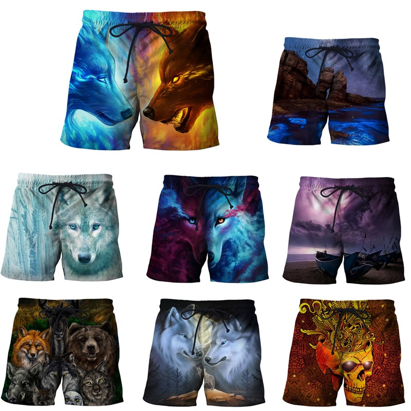 EAnvog Animals Casual Loose Shorts Elastic Waist Summer Beach Shorts 3D Printed S-5XL Wolf Leisure Short Trousers Board Shorts