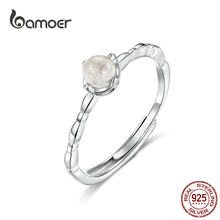 bamoer Natural Moonstone Ring Genuine 925 Sterling Silver Thin Finger Band for Women Bohemia Style Jewelry Gifts SCR536(China)