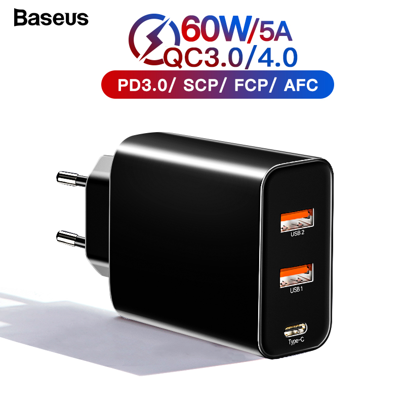 Baseus Quick Charge 4.0 3.0 Multi <font><b>USB</b></font> <font><b>Charger</b></font> For iPhone 11 Pro Max Xiaomi Samsung Huawei QC4.0 3.0 PD Fast Mobile Phone <font><b>Charger</b></font> image