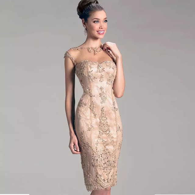 Champagne 2019 Mother Of The Bride Dresses Sheath Cap Sleeves Knee Length Lace Beaded Groom Short Mother Dresses For Wedding