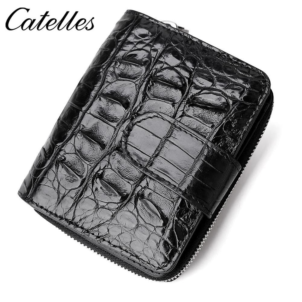 Мужской кошелек, Короткие Кошельки из крокодиловой кожи, модный многофункциональный держатель для карт, маленький кошелек на молнии