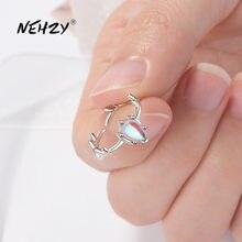 NEHZY-anillo abierto de Plata de Ley 925 para mujer, joyería de moda, Color de alta calidad, piedra lunar, corazón, tamaño de anillo ajustable