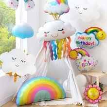 Globo de aluminio de dibujos animados de nube sonriente para niños globo de helio, arcoíris, Hada de Las Flores, unicornio, fiesta de bienvenida para el futuro bebé niños, decoración para fiesta de cumpleaños, 1 Uds.