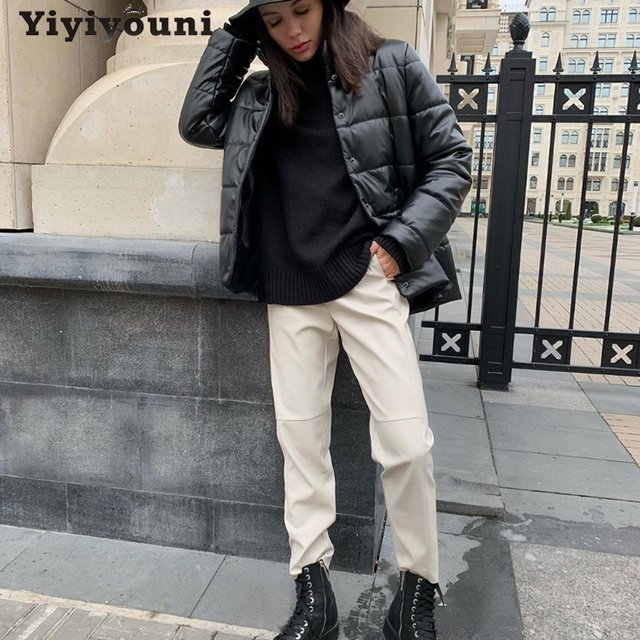 Yiyiyouni High Waist Spliced Leather Pants Women Loose Drawstring PU Leather Trousers Women Autumn Solid Straight Pants Female 3