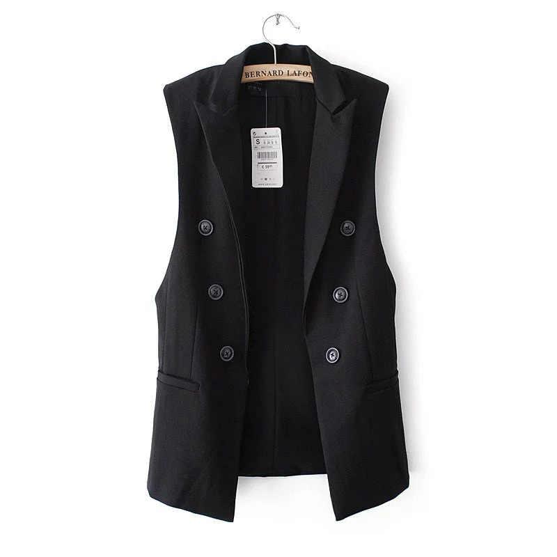 Para mujeres sin mangas abrigo chaqueta chaleco largo Formal trabajo señoras Oficina desgaste Casual moda ajustado chaleco femenino de talla grande