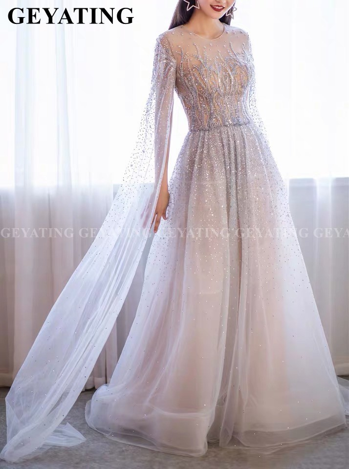 Dubai Silver Crystal Beaded Arabic   Evening     Dress   with Cape Sleeve Long Prom   Dresses   Real Photos Women Formal Dinner Party Gowns