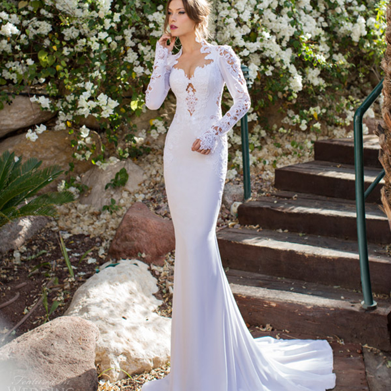 Chiffon Mermaid Bridal Gown With Long Sleeve Bride Dresses Lace Appliques Pearls 2016 Sexy Backless Mother Of The Bride Dresses