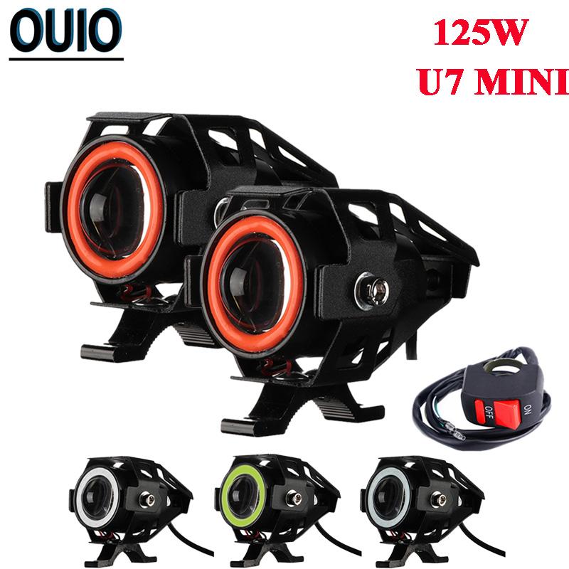 Motorcycle LED Headlight Driving 125W Moto Spotlight w/ Switch U7 Fog Spot Head Light Angel Eye Devil Eye Decorative Lamp 3000LM