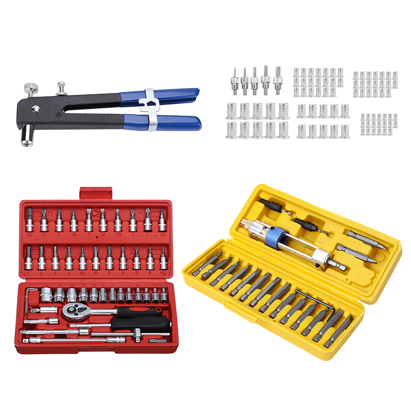 86pcs Hand Riveter Nut Rivet Gun Kit M3-M8 Manual Threaded Nut Rive Tool Kit Stainless Steel Nuts Metric Thread For Screws