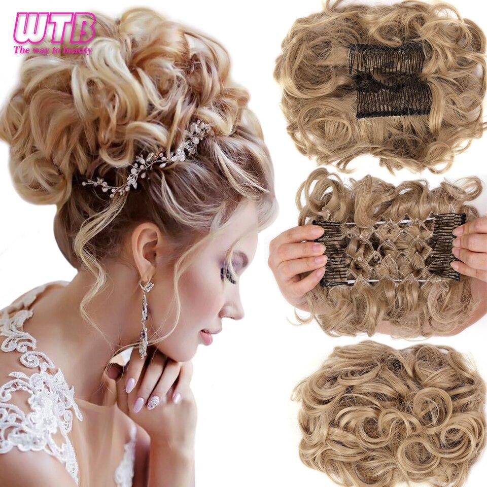 WTB кудрявый спутанный синтетический шиньон с резиновой лентой, пучок волос, две пластиковые расчески с зажимом, прикрывающие волосы, конски...