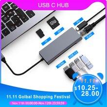 3.0 adaptador usb hub para macbook pro acessórios multi usb 3.0 tipo c hub leitor de cartão do carregador de usb com hdmi rj45 pd