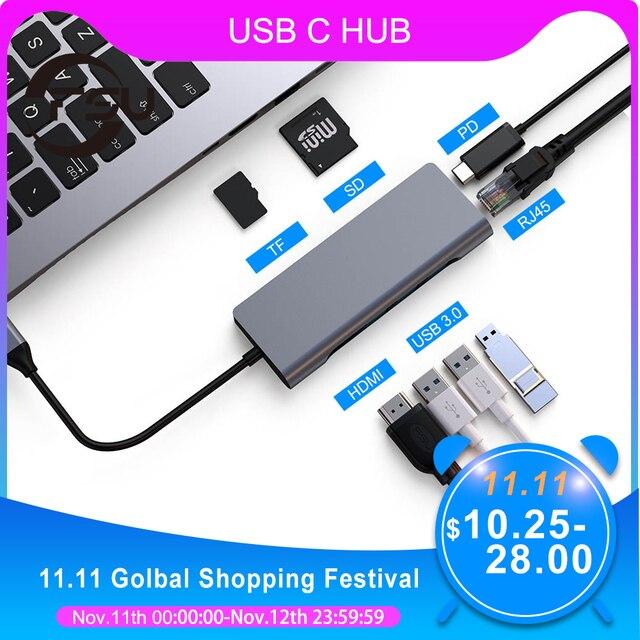 FSU USB C HUB With HDMI RJ45 PD Charger Card Reader USB 3.0 Adapter USB HUB For Macbook Pro Accessories Multi USB 3.0 Type C HUB