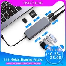 USB C концентратор FSU с HDMI RJ45 PD зарядное устройство кардридер USB 3,0 адаптер usb хаб для Macbook Pro Аксессуары Мульти USB 3,0 Type C концентратор