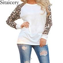 Sitaicery 2019 Fashion Women Casual Long Sleeve Spring T-shirt Leopard T shirt summer Tops T Shirts Femme Ladies T Shirt Plus Size Clothing S-5XL plus size pockets design leopard t shirt