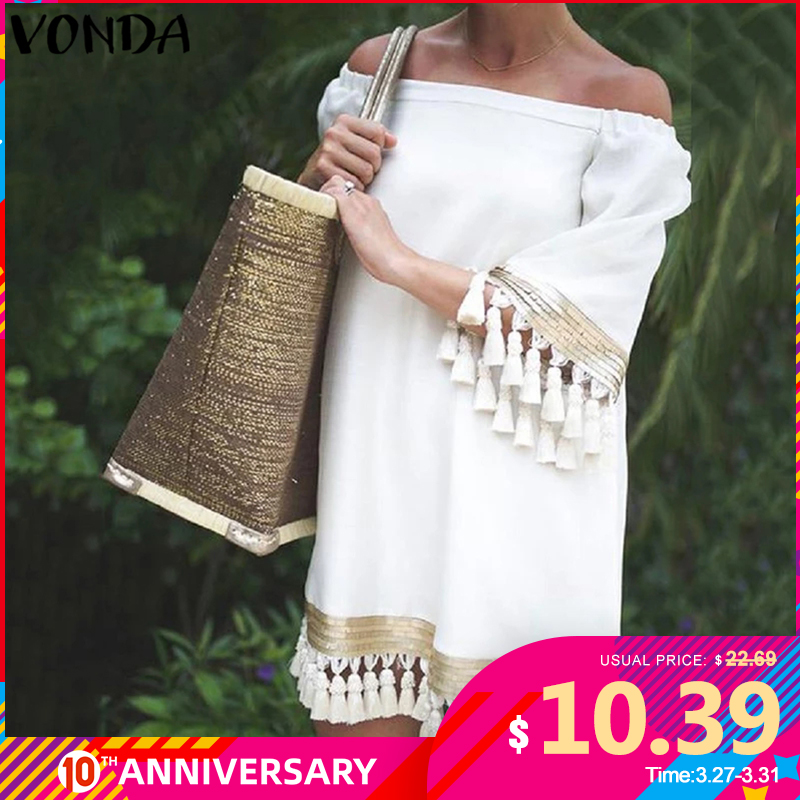 2020 VONDA Summer Sundress Women <font><b>Sexy</b></font> Off Shoulder Party <font><b>Dress</b></font> Female Vintage Mini <font><b>Dress</b></font> Holiday Casual <font><b>Plus</b></font> <font><b>Size</b></font> Vestidos 5XL image