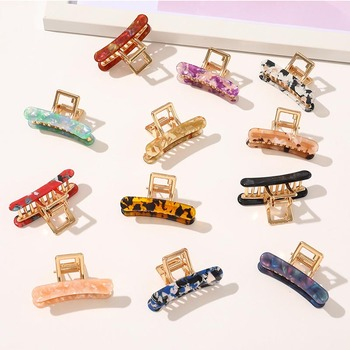 Geometric Acetate Hair Claw Clamps For Women/Girl Crab Moon Shape Clip Claws Solid Color Accessories Hairpin