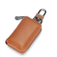 Vintage Car Key Holder Genuine Leather Housekeeper Zipper Pocket Key Case Bag Fashion Cowhide Key Pouch Coin Purse Wallet new vintage genuine leather key holder car key wallets men double zipper key case bag pouch purse coin purse card holder