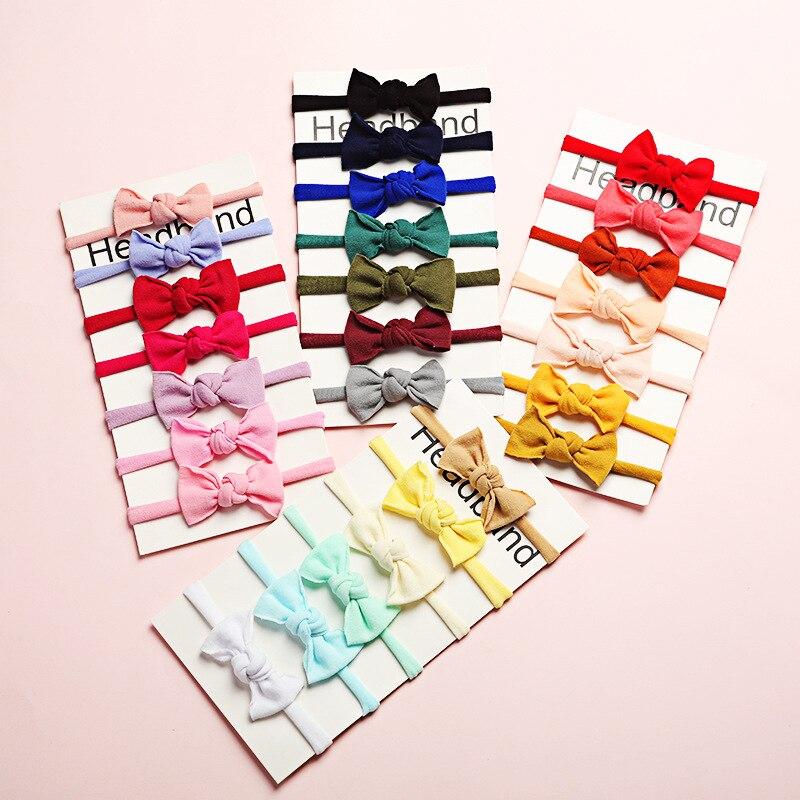 7 шт./компл. повязка на голову для маленьких девочек аксессуары для волос тканевый галстук банты головной убор Тиара подарок для малышей пов...