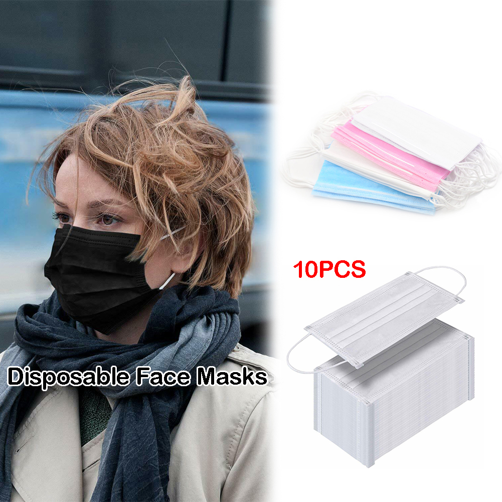 10Pcs/Bag Dustproof Facial Protective Cover Masks 3 Layers Anti-Dust Disposable Outdoor Walk Salon Earloop Face Mouth Mask
