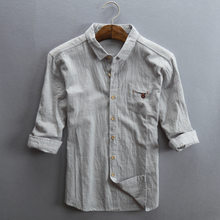 2020 mens three quarter linen shirts turn down collar pocket slim fit cotton summer shirts men casual tops clothing male white(China)