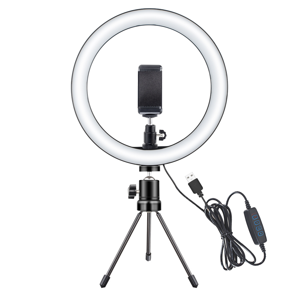 10W Photography LED Selfie Ring Light 10inch Dimmable Camera Phone Ring Lamp With Table Tripods For Makeup Video световое кольцо