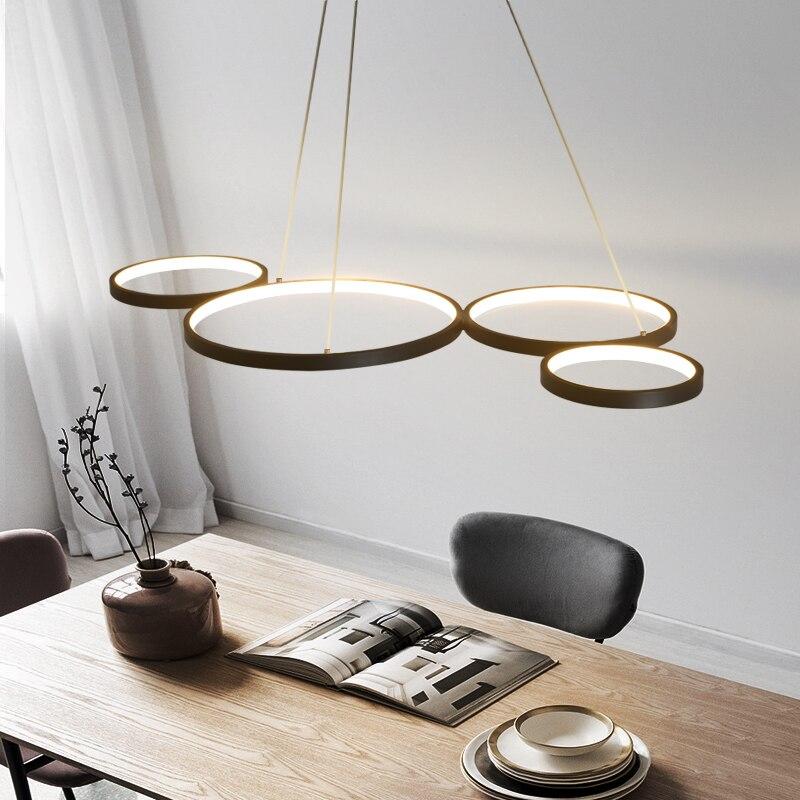 Preto fosco/branco cor moderna led lustre para sala de estar sala de jantar barra cozinha sala 110 v 220 v pendurado lustre para a loja