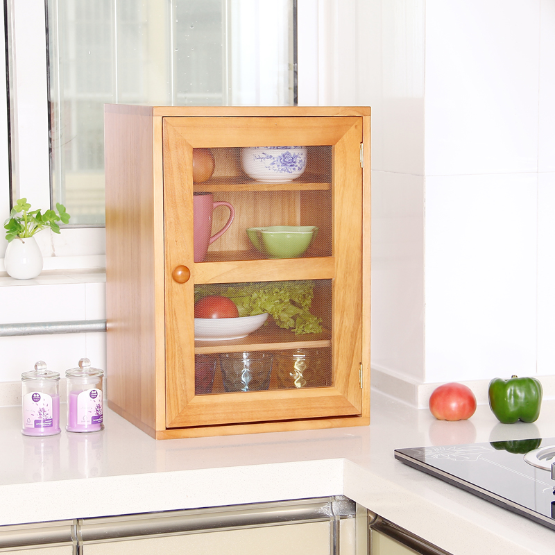 Solid Wood Ventilation Small Cupboard Seasoning Cupboard Kitchen Storage Cupboard Side Cupboard Cupboard Package Mail